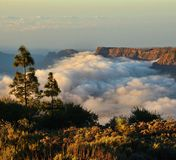 Cloudscape on the mountains of Gran canaria, Canary islands. Landscape of clouds and mountains Royalty Free Stock Images