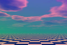 Cloudscape over check pattern Royalty Free Stock Photos