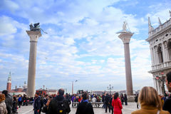 Cloudscape over columns of San Marco and San Todaro Stock Images