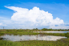 Cloudscape. Over a pond from thailand Royalty Free Stock Photography