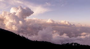 Cloudscape over Troodos mountains. Cyprus. Panorama Royalty Free Stock Image