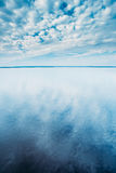 Cloudscape Over Water Surface Of Lake Pond River. Nature, Background Stock Image
