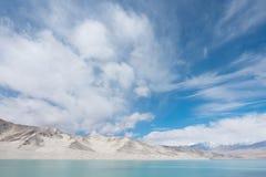 Cloudscape over white mountains Stock Photos