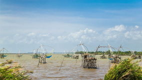 Cloudscape at Pak Pra Fishing Net stock footage