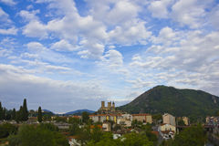 Cloudscape on Pyrenees town Royalty Free Stock Photography