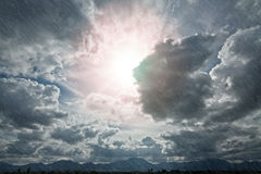 Cloudscape with rain Stock Image