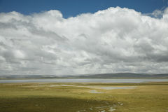 Cloudscape with a river. Beautiful cloudscape in tibet, china Royalty Free Stock Image