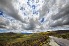 Cloudscape. Road and Sky, Sanabria Natural Park, Spain Stock Photography