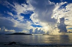 Cloudscape and seascape  view. Seychelles, LaDigue island Stock Image