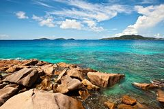 Cloudscape and seascape  view. Seychelles, LaDigue island Royalty Free Stock Photography