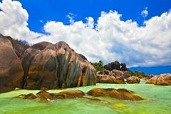 Cloudscape and seascape  view. Dream seascape  view, Seychelles, LaDigue island Royalty Free Stock Images