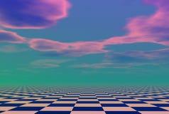 Cloudscape sopra il modello del controllo Fotografie Stock Libere da Diritti