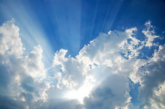 Cloudscape with sunrays Royalty Free Stock Photography