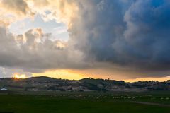 The cloudscape sunset. The photo was taken in Wulanbutong scenic spot of Hexigten national Geopark Chifeng city Nei Monggol Autonomous Region,China stock photography
