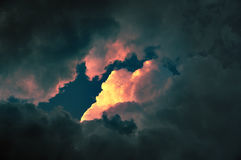 Cloudscape at sunset with red cloud Royalty Free Stock Image
