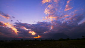 Cloudscape timelapse evening sky. Vivid blue purple violet during sunset stock video footage