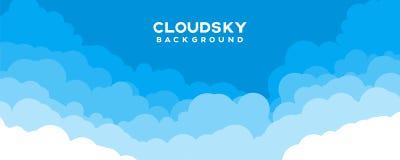 Cloudscape  illustration with copy space. Blue sky background stock illustration