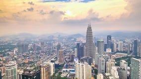 Cloudscape view city panorama with Petronas Twin Towers. Kuala Lumpur, Malaysia stock video