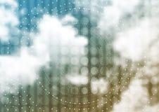 Cloudscape wektorowy tło z okręgami i kropkami royalty ilustracja