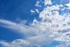 Cloud landscape with clouds in the blue sky. Cloudscape with white clouds in the blue sky Stock Image