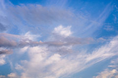 Cloudscape with wispy white cirrus clouds Royalty Free Stock Photography
