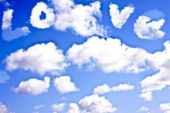 Cloudscape with the word LOVE Stock Images