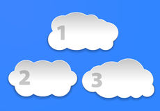 Cloudscapes on light blue background. Cloud computing concept. Vector illustration Royalty Free Stock Photography