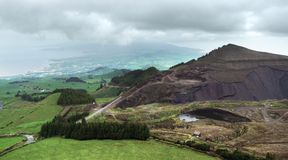 Cloudy aerial view at the Azores Stock Photos