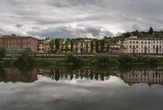 Cloudy afternoon above the river and town  Florence Italy. Royalty Free Stock Photography