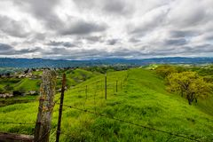 Stormy afternoon over Mount Diablo. A cloudy afternoon along the Diablo Foothills and the China Wall stock photo