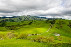 Stormy afternoon over Mount Diablo. A cloudy afternoon along the Diablo Foothills and the China Wall stock image
