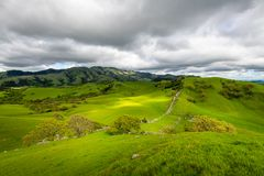 Stormy afternoon over Mount Diablo. A cloudy afternoon along the Diablo Foothills and the China Wall stock photography