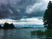 Cloudy afternoon on lake in Sastamala Royalty Free Stock Photography