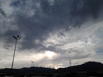 Cloudy afternoon. It's very cloudy but no rain yet stock photo