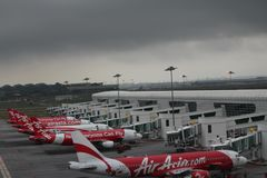 Cloudy airports Stock Image