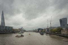 Cloudy autumn day in the big city of London Great Britain Royalty Free Stock Photo