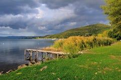 Cloudy Autumn Lake stock photo