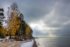 A cloudy autumn morning. Siberia, the coast of the Ob river Royalty Free Stock Photography