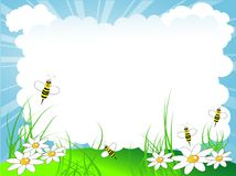 Cloudy background. Spring cloudy background with bees vector illustration