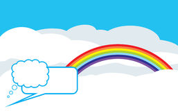 Cloudy background with rainbow and speech bubbles Stock Photos