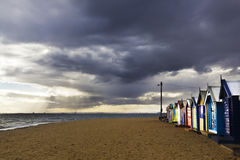 Cloudy Bathing Boxes Stock Photography