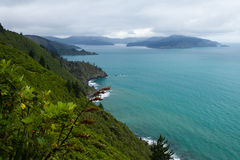 Cloudy Bay of Marlborough Sounds, New Zealand Royalty Free Stock Image