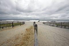 Cloudy Beach Path Stock Image