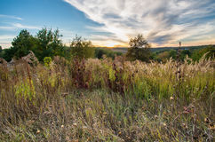 Cloudy beautiful sunset over autumn hill with plants. Amazing sunset at fall time over forest hills Royalty Free Stock Photography