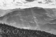 Cloudy black and white mountains Royalty Free Stock Photo