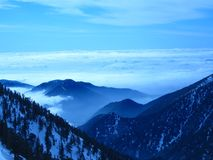 Cloudy Blue Mountaintop View royalty free stock images
