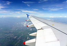 Cloudy blue sky from airplane Stock Images