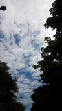 The cloudy blue sky in the evening is over the city streets Royalty Free Stock Photography