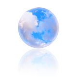 Cloudy blue sky globe. With reflection on white background. With copy space Stock Images