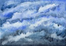 Cloudy blue sky. Heaven. Watercolor painting royalty free stock photography